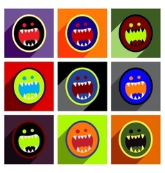 Flat with shadow concept Icon toothy monster vector