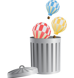 flying object in trash bin-03 vector image