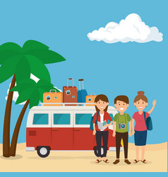Friends in the beach summer vacations vector