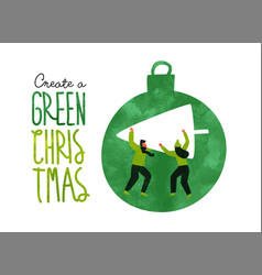 Green christmas eco card people with pine tree vector