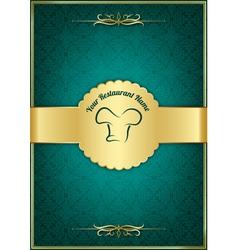 Green decorative restaurant menu cover vector image vector image
