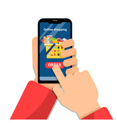 grocery basket online hands holding smartphone vector image