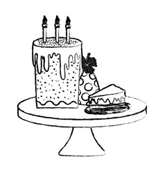 Grunge hat party with cakes in tables birthday vector