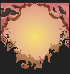 halloween border for design with spooky items and vector image