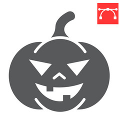 Halloween pumpkin glyph icon halloween and scary vector