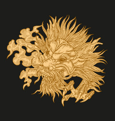 hand drawn asian dragon head on black background vector image