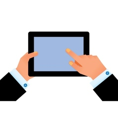 hand on digital tablet vector image