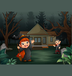 Happy halloween with vampire and witch cartoon vector