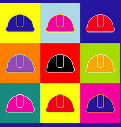 hardhat sign pop-art style colorful icons vector image