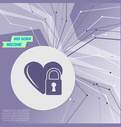 heart lock icon on purple abstract modern vector image