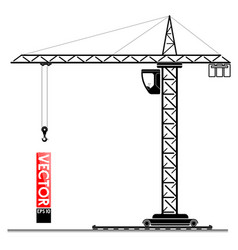 High tower crane at the construction site lifting vector