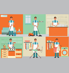 House husband cleaning vector