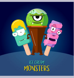 ice cream character design three monsters vector image