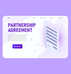 isometric partnership agreement landing page vector image