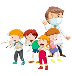 Kids being sick and doctor vector image