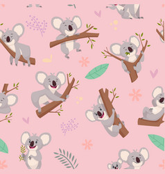 koala pattern australian wild cute animal koala vector image