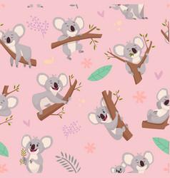 koala pattern australian wild cute animal vector image