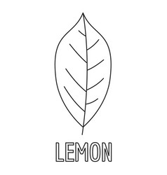 lemon leaf icon outline style vector image