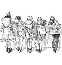 Little schoolgirls stopped on the embankment vector