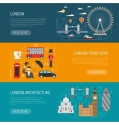 London Landmarks Flat Banners Set vector