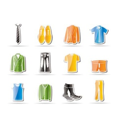 man fashion and clothes icons vector image