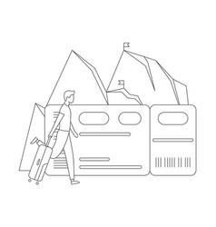 man suitcase ticket mountain line concept vector image