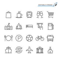 map and location line icons editable stroke vector image