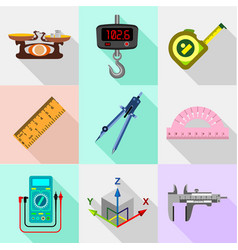 Measure tools icons set flat style vector