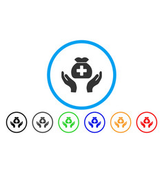 medical fund care hands rounded icon vector image