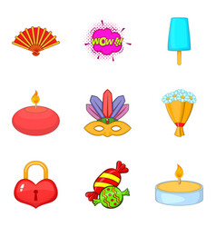 memorable event icons set cartoon style vector image