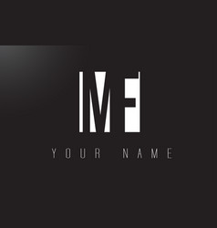 mf letter logo with black and white negative vector image