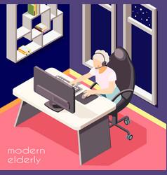 Modern elderly people background vector