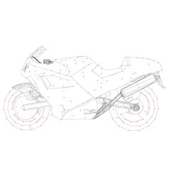 motorcycle wireframe of black lines on a white vector image