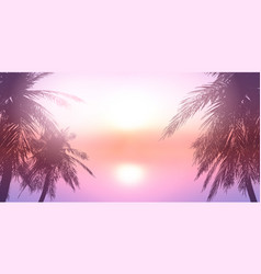 Palm trees against a sunset ocean landscape vector