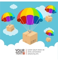 Parachute delivery card vector