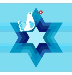 peace pigeon with david star on blue vector image