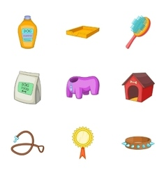 Pet care icons set cartoon style vector
