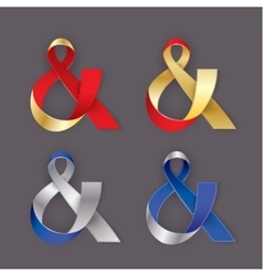 Photorealistic ribbon in the shape of Ampersand vector