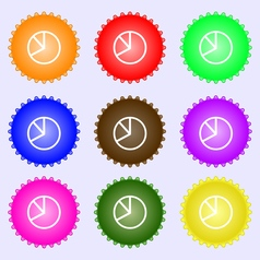 Pie chart graph icon sign A set of nine different vector image