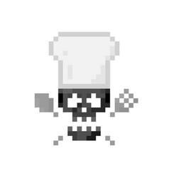 Pixel art sign skull with crossbones and chef hat vector