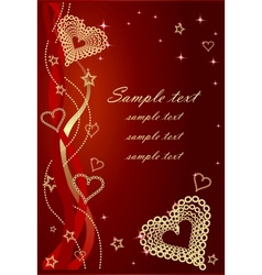 Red Valentine Background With Bows and Hearts vector image