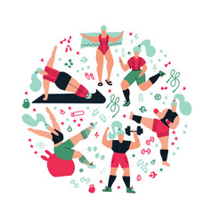 Round shape composition workout in gym on vector