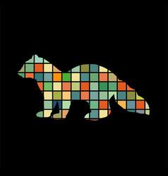 Sable marten mink mammal color silhouette animal vector