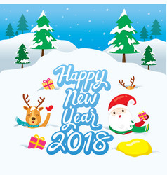 santa claus and reindeer on snowdrift vector image