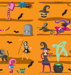 Seamless pattern - halloween witches broom cat vector
