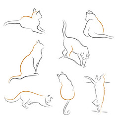 Set of cat icons vector