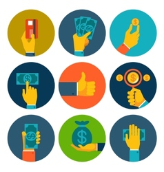 Set of colorful money in hands icons vector image