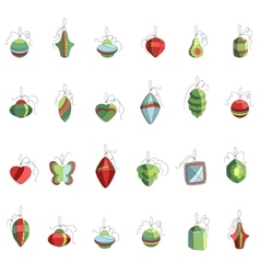 Set of different contour Christmas decoration vector image vector image