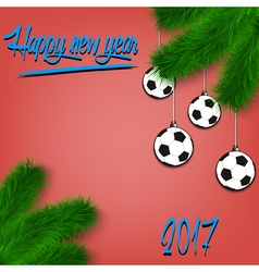 Soccer balls on Christmas tree branch vector