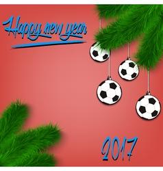 Soccer balls on christmas tree branch vector